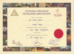 Photograph of the Chef Suresh Kumara Food certificate.